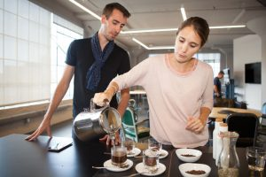 Image of Camille Delebecque and Sophie Deterre hold a coffee tasting at the WIRED offices.